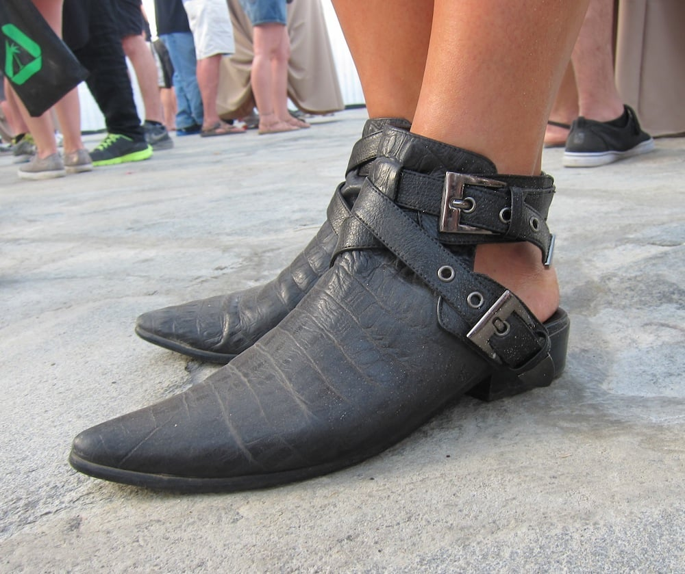These pointy-toe ankle-strap boots with an open back are so awesomely futuristic that only cool girls need apply here.