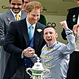 Harry presented Frankie Dettori with a trophy after winning the St. James's Palace stakes at day one of the Royal Ascot in June.