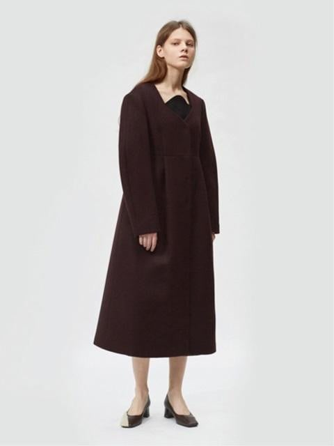 Pleated Long Coat Burgundy ($558)