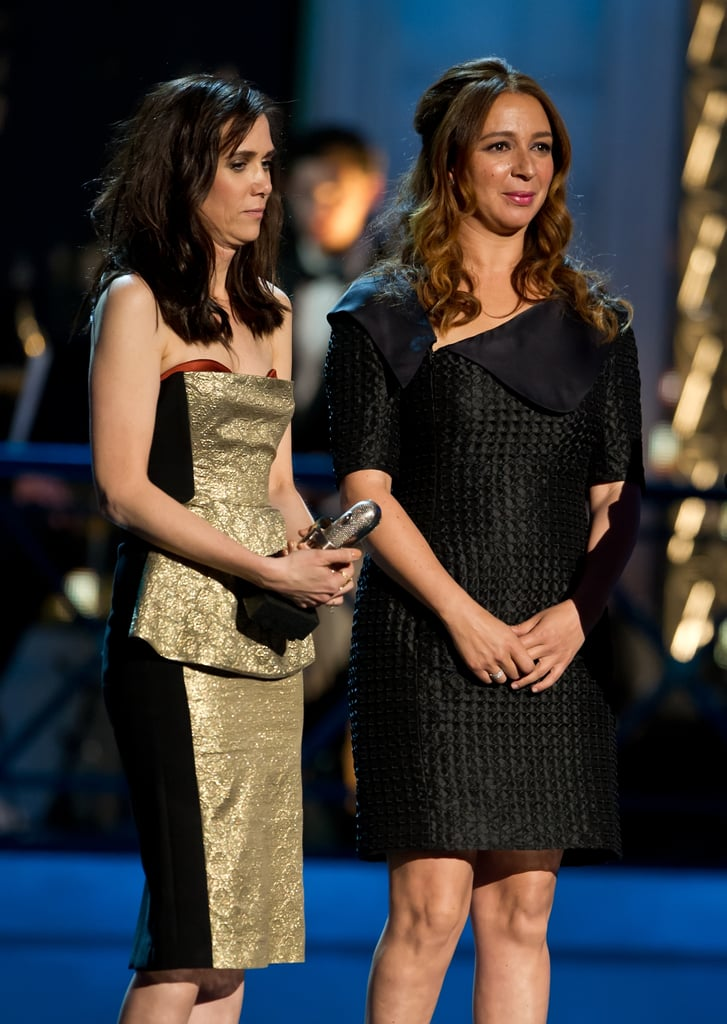 Kristen Wiig and Maya Rudolph accepted an award together at the Comedy Awards in NYC.