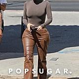 Kim Kardashian Wearing Leather Pants in Malibu, CA