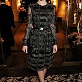 Carey showed her support for The Alzheimer's Society in a long sleeve black-and-silver Valentino confection, stud-detailed Prada sandals, and black quilted clutch in NYC.