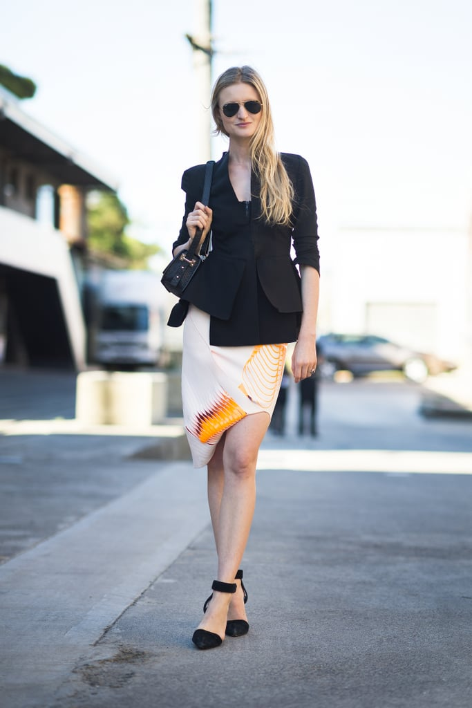The perfect counter to a whimsical skirt? As evidenced by this look, all you need is a great structured blazer to make it all work. Source: Le 21ème | Adam Katz Sinding