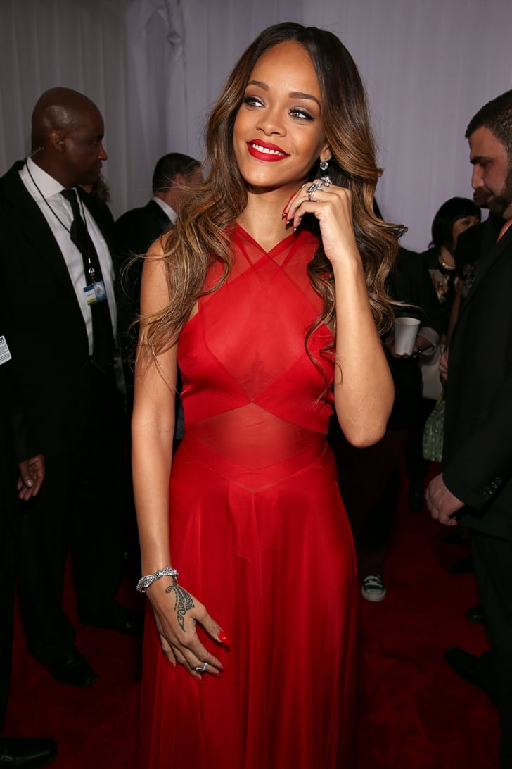 Rihanna Pictures in Red Alaid Dress at 2013 Grammy Awards ...