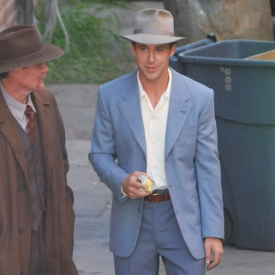 Ryan Gosling Filming The Gangster Squad in Blue Suit Pictures