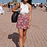 Although this concertgoer's outfit could easily be worn any weekend, she still made herself known with bold Quay cat-eye sunglasses.