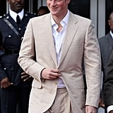 Prince Harry in a tan suit.