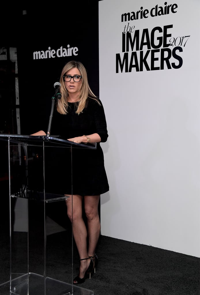 Jennifer Aniston wasn't trying to make a fashion statement when she wore a pair of dark-framed glasses to an event in LA. She simply grabbed them, perhaps to see better, when she went on stage for a speech at Marie Claire's Image Maker Awards. That's exactly why we loved Jennifer's look. The star wasn't worried about feeling geeky with her thick frames nor if they would match her LBD; the glasses were a practical item to have. Practical pieces never go out of style. That's probably why Jennifer also stuck to her signature all-black look, because the colour is classic. If there's one fashion lesson we've learned from the actress over the years, it's wear your favourite look over and over and don't give a damn. Scroll on to see Jennifer's outfit from head to toe, then scoop up similar picks.      Related:                                                                                                           Jennifer Aniston's Favourite Autumn Staple Is One You Might Have Given Up On