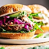 Veggie Burgers With Pickled Cabbage and Tahini Sauce