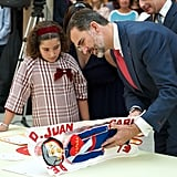King Felipe of Spain met with children in Madrid on Monday.