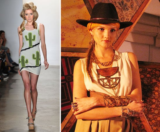 Even quirkier designers like Jeremy Scott put their spin on the Western trend, while accessories designer Pamela Love created slick vintage gold pieces that evokes an old country feel. From left to right: Jeremy Scott Spring '12, Pamela Love Spring '12