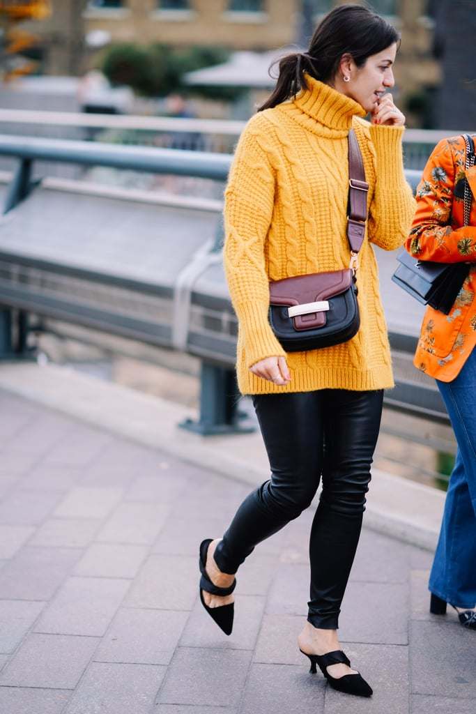 Wear A Turtleneck Sweater With Leather Pants Mustard Yellow Color