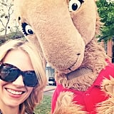 January Jones hung out with a huge llama, just because. Source: Instagram user januaryjones