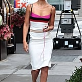 Jessica Alba wore a Narciso Rodriguez colorblock dress while leaving her hotel in NYC.