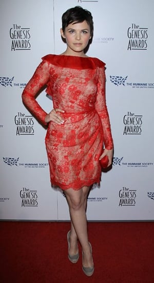 Ginnifer Goodwin in Red Lace Valentino Couture Dress