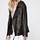 """The Rebecca Minkoff Brutus Biker Coat ($698) isn't your typical leather jacket. Instead, it's got added texture and major slouch for a look with personality. Being that it's a bit oversize, it'll also be perfect for layering this season."" — Sarah Wasilak, editor, Fashion"