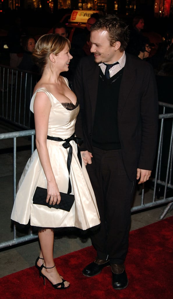 Michelle Williams and Heath Ledger were all smiles at the December, 2005 NYC premiere of Brokeback Mountain.