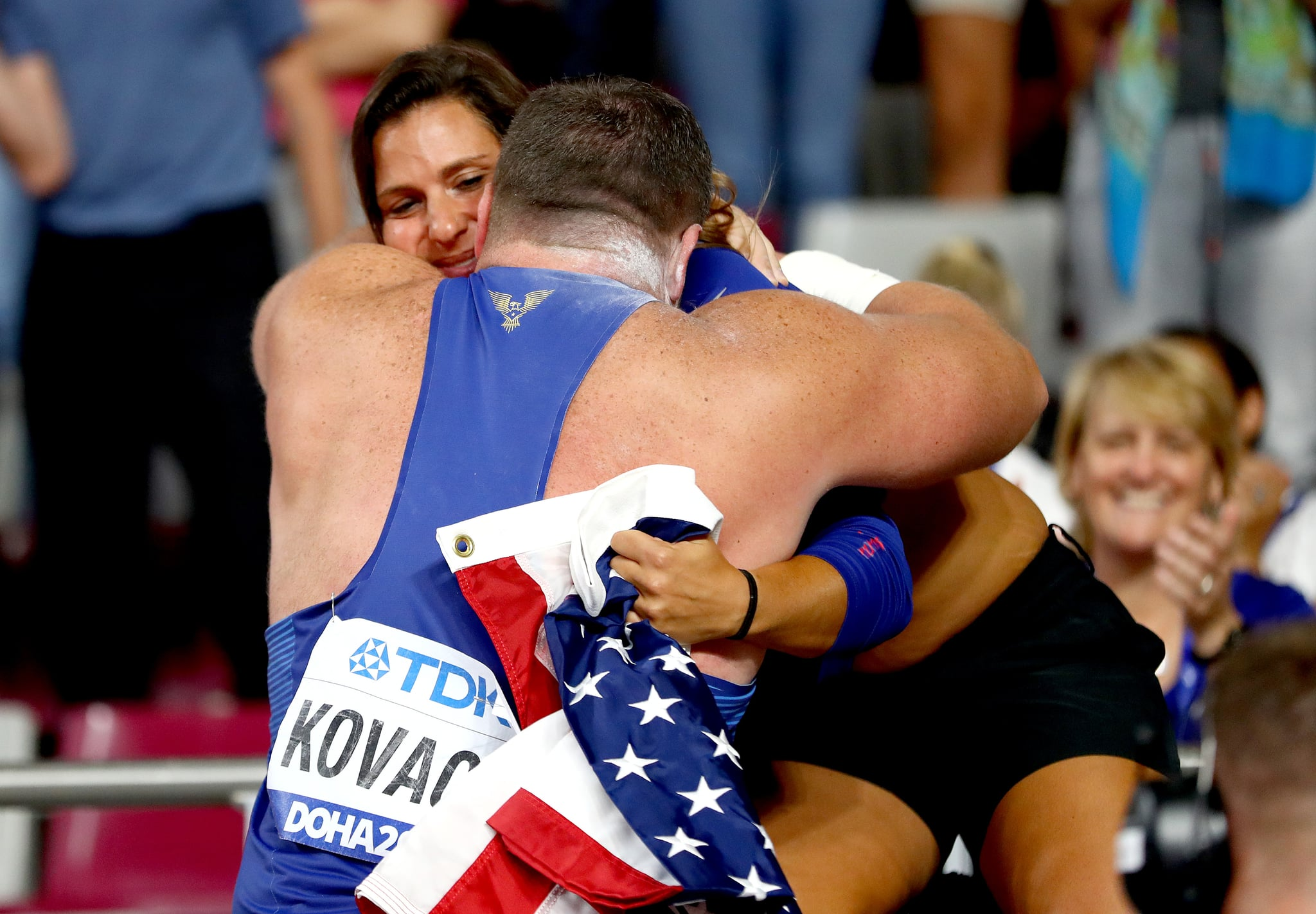DOHA, QATAR - OCTOBER 05:  Joe Kovacs, gold, of the United States celebrates his championship record in the Men's Shot Put final during day nine of 17th IAAF World Athletics Championships Doha 2019 at Khalifa International Stadium on October 05, 2019 in Doha, Qatar. (Photo by Michael Steele/Getty Images)