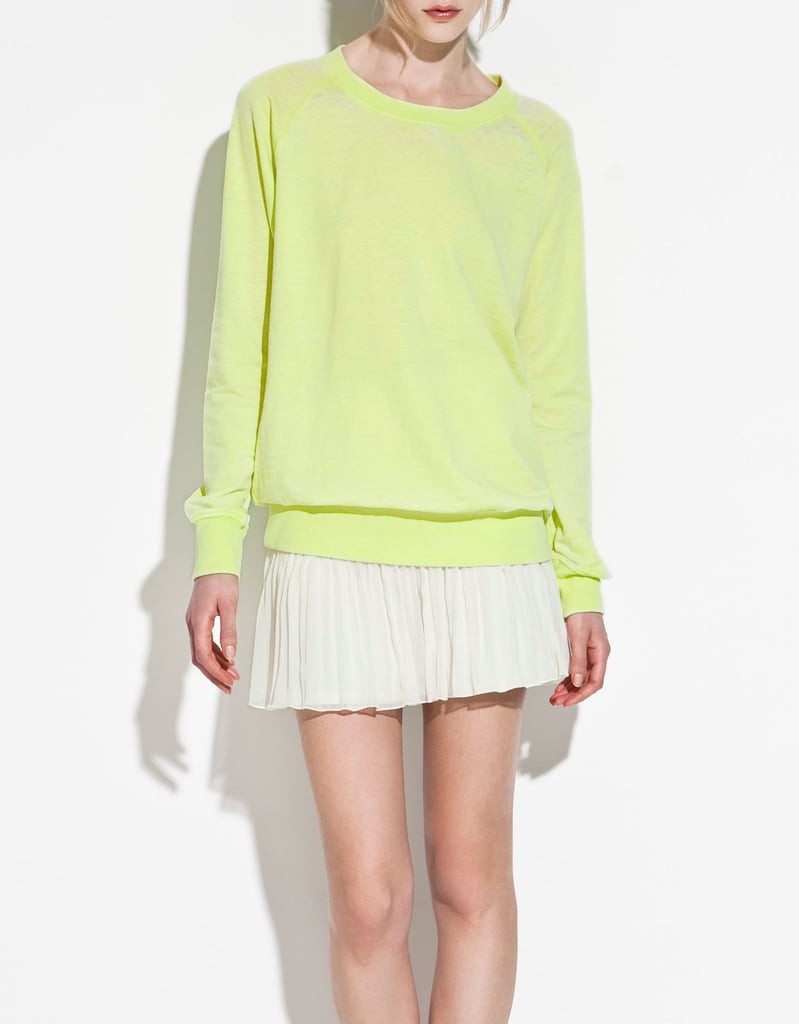 A lightweight sweatshirt in a highlight hue gets us every time.  Zara TRF Devoré Sweatshirt ($36)