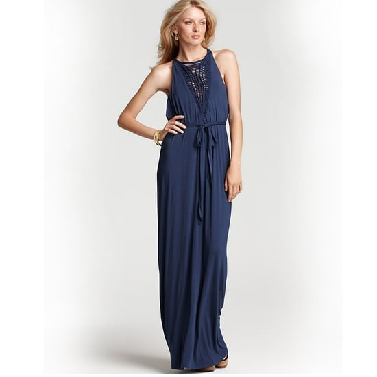 """>> An intricate neckline needs very little extra embellishment. Go for sophisticated bohemian pieces — wooden sandals and earthy jewels. Catherine Malandrino Basketweave Maxi Dress , $425 Looks chic with: <iframe src=""""http://widget.shopstyle.com/widget?pid=uid5121-1693761-41&look=3352847&width=3&height=3&layouttype=0&border=0&footer=0"""" frameborder=""""0"""" height=""""244"""" scrolling=""""no"""" width=""""286""""></iframe>"""