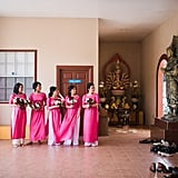 These bridesmaids looked pretty in (hot) pink.