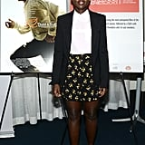 Showing off her more casual side at a 12 Years a Slave screening in Hollywood, Lupita Nyong'o tucked a crisp white blouse into printed shorts then polished things even more thanks to her black boyfriend blazer.