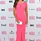 Camila Alves looked svelte in a body-hugging pink gown, which also featured a pretty, jewel-embellished neckline and sexy front slits. To finish, she wore nude patent Brian Atwood heels.
