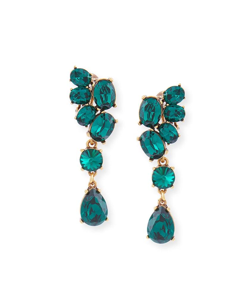 Oscar de la Renta Asymmetric Crystal Clip Earrings, Green ($395)