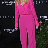 Julia stunned in a hot pink silk blouse and matching trousers by Brandon Maxwell.
