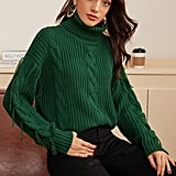 Shein Turtle Neck Cable Knit Fringe Trim Sweater