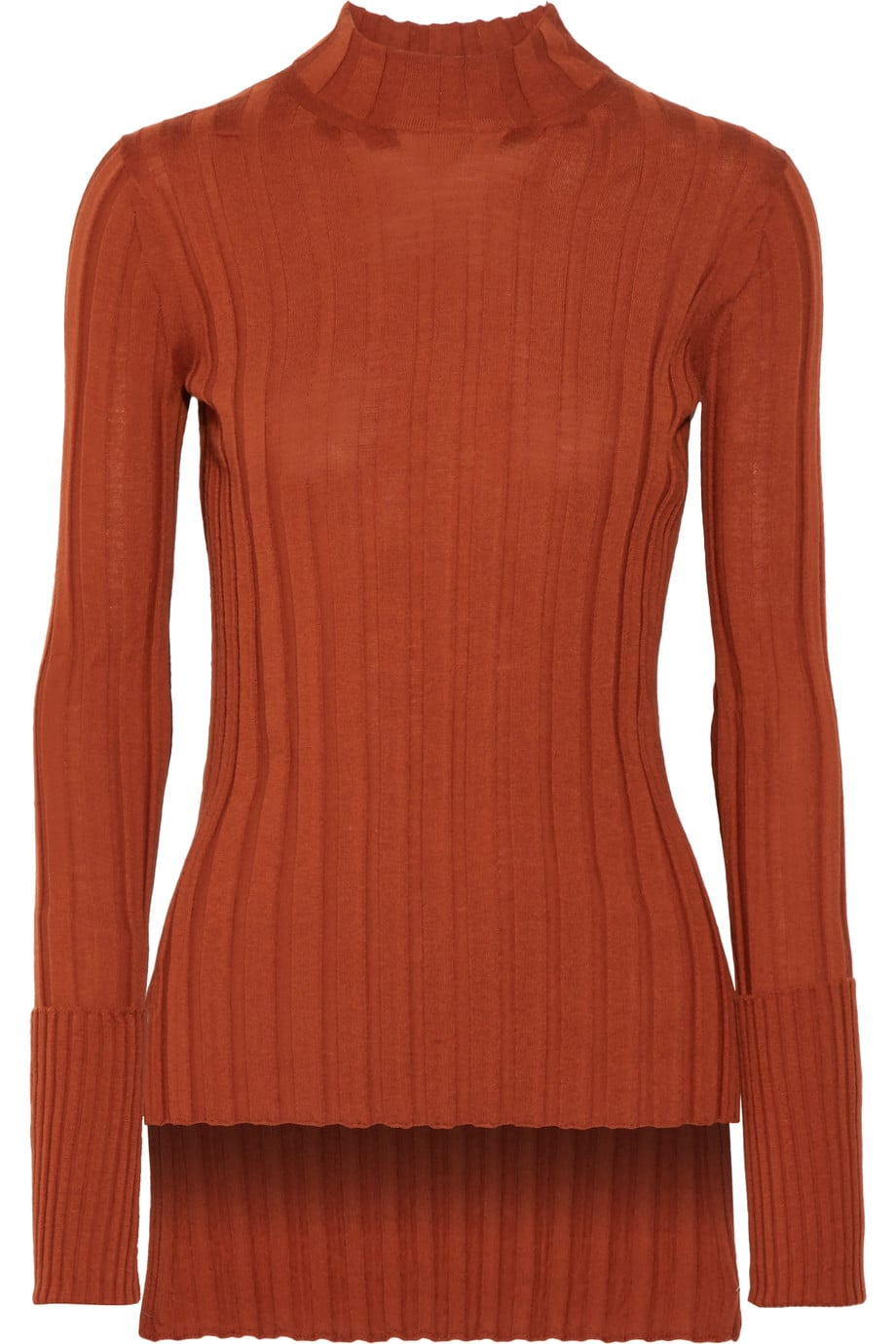 Theory Ribbed Merino Sweater Selena Gomez Just Wore Your Pumpkin Spice Latte On Her Sleeve Literally Popsugar Fashion Photo 17