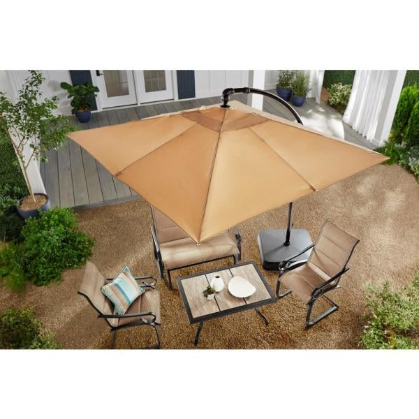 Hampton Bay Square Aluminum Cantilever Offset Outdoor Patio Umbrella