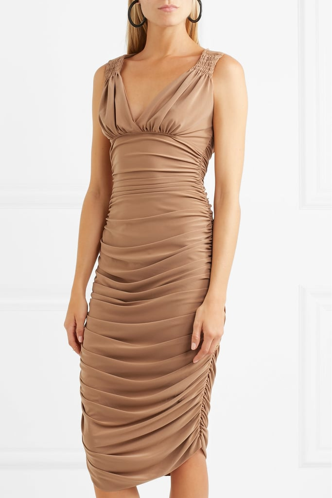 Tara Ruched Stretch-jersey Dress - Light brown Norma Kamali Cheap Outlet vieJ41dY6