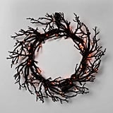 LED Lit Black Twig Halloween Wreath