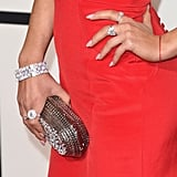 Wearing Niwaka jewels amd a metallic clutch.