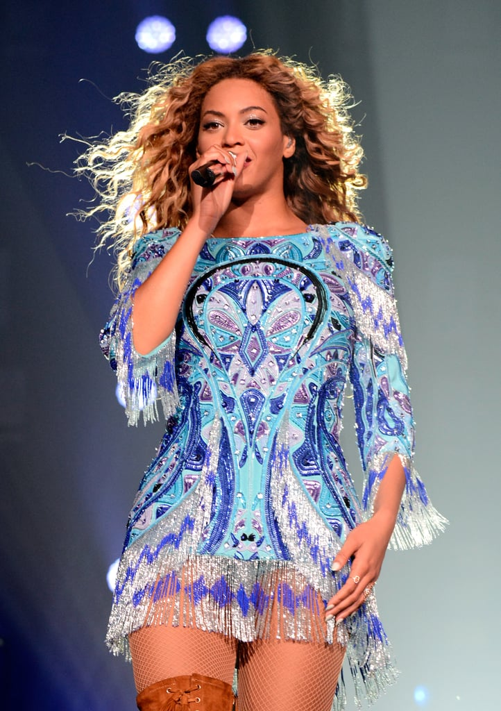 Check out the embellished and fringed detailing on Beyoncé's mini-dress.