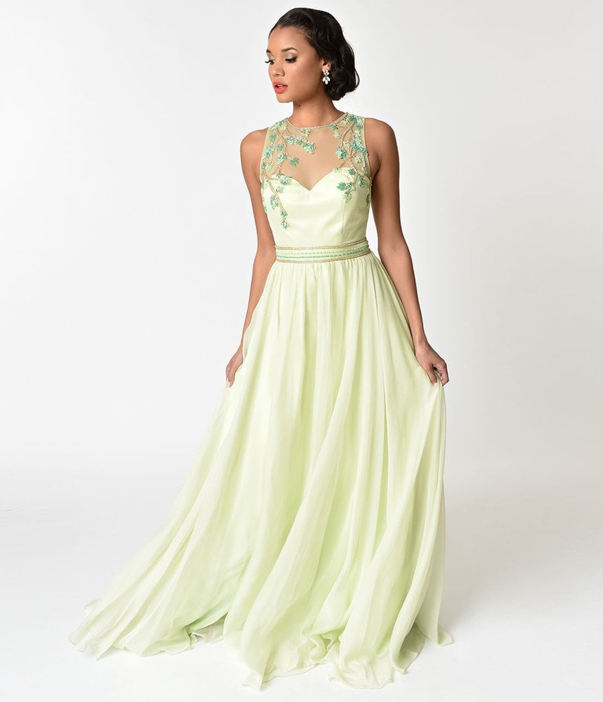 17c0f6aa40052 Lime Green Embellished Mesh Illusion Prom Gown