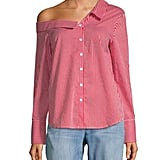 Lea & Viola Stripe One-Shoulder Button-Down Shirt