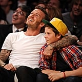 David and Brooklyn had a father-son date at the LA Lakers game in March 2012.