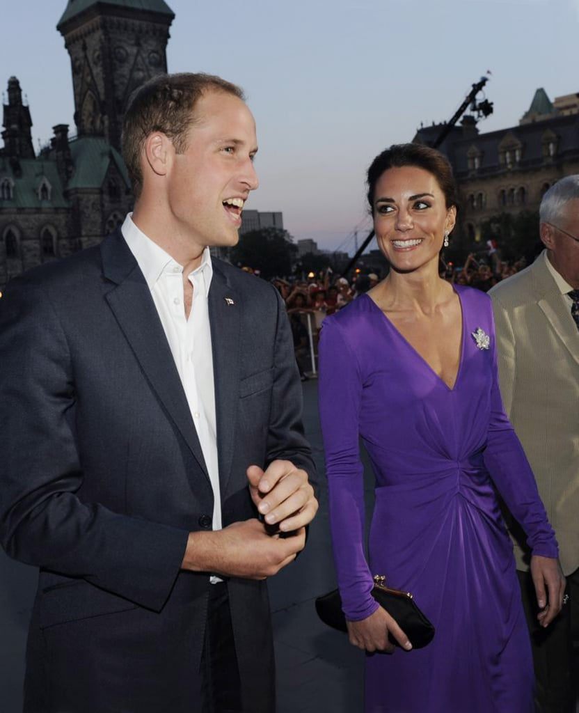 July 1st, 2011 Arriving to the Evening National Canada Day Celebrations at the Parliament in Ottawa, Canada.   Kate wears a jersey dress in purple by Issa, along with the diamante maple leaf pin lent to her by the Queen.