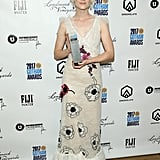 At the 2017 Gotham Awards wearing a sheer white Rodarte dress that featured floral appliqué.