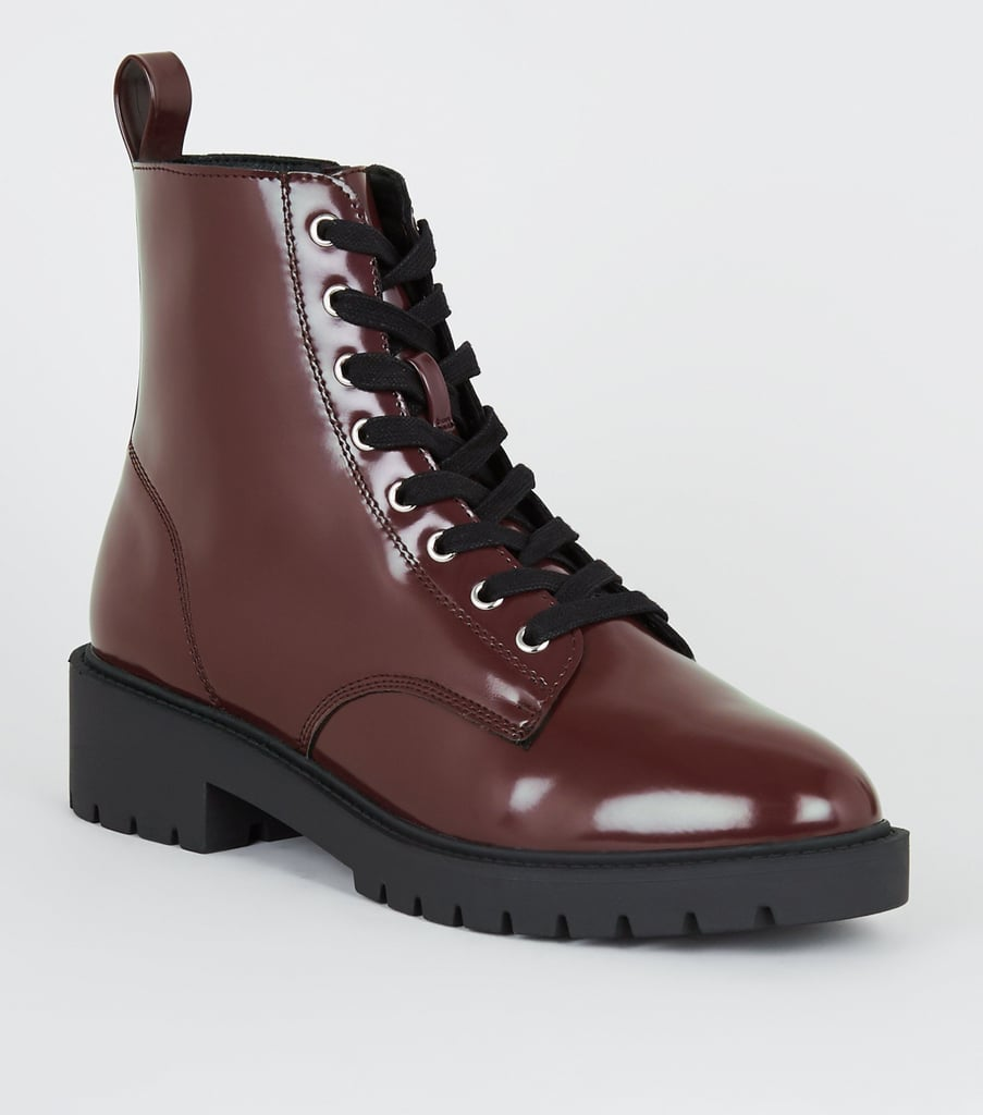 New Look Dark Red Patent Lace Up Boots