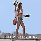 Miranda Kerr showed off her bikini body in Bora Bora.
