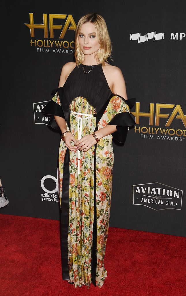 Margot wore a cold shoulder Louis Vuitton gown with Cartier jewels at the 21st Annual Hollywood Film Awards in November 2017.