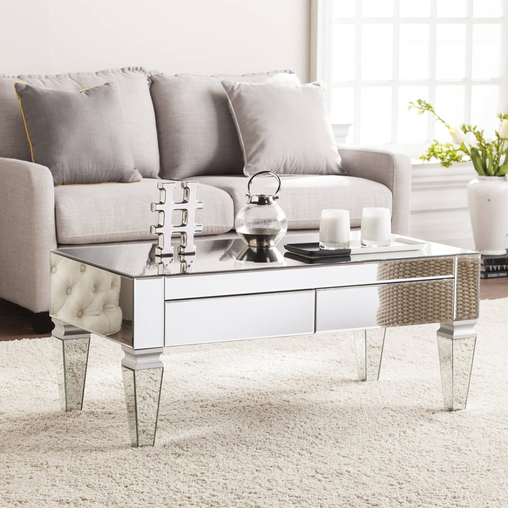 Southern Enterprises Dustox Mirrored Rectangular Coffee Table