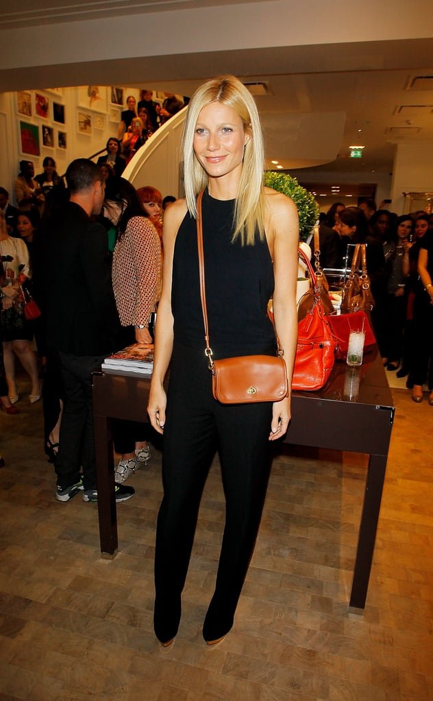 Gwyneth Paltrow accessorized her all-black ensemble with a crossbody Coach bag in London this evening. She was on hand for the official Vogue Fashion's Night Out afterparty, which was hosted by the brand at their new Bond Street flagship store. Gwyneth also celebrated the company at a special dinner event last night, which her husband Chris Martin also attended. She's back in the UK following a quick stay in Italy where she promoted Contagion at the Venice Film Festival, and Gwyneth shared personal pictures from her Venice trip shortly after returning home. She's getting back into her daily routine since her two kids started school this week, but Gwyneth already has her next project lined up with a role in Thanks For Sharing alongside Mark Ruffalo and Tim Robbins.