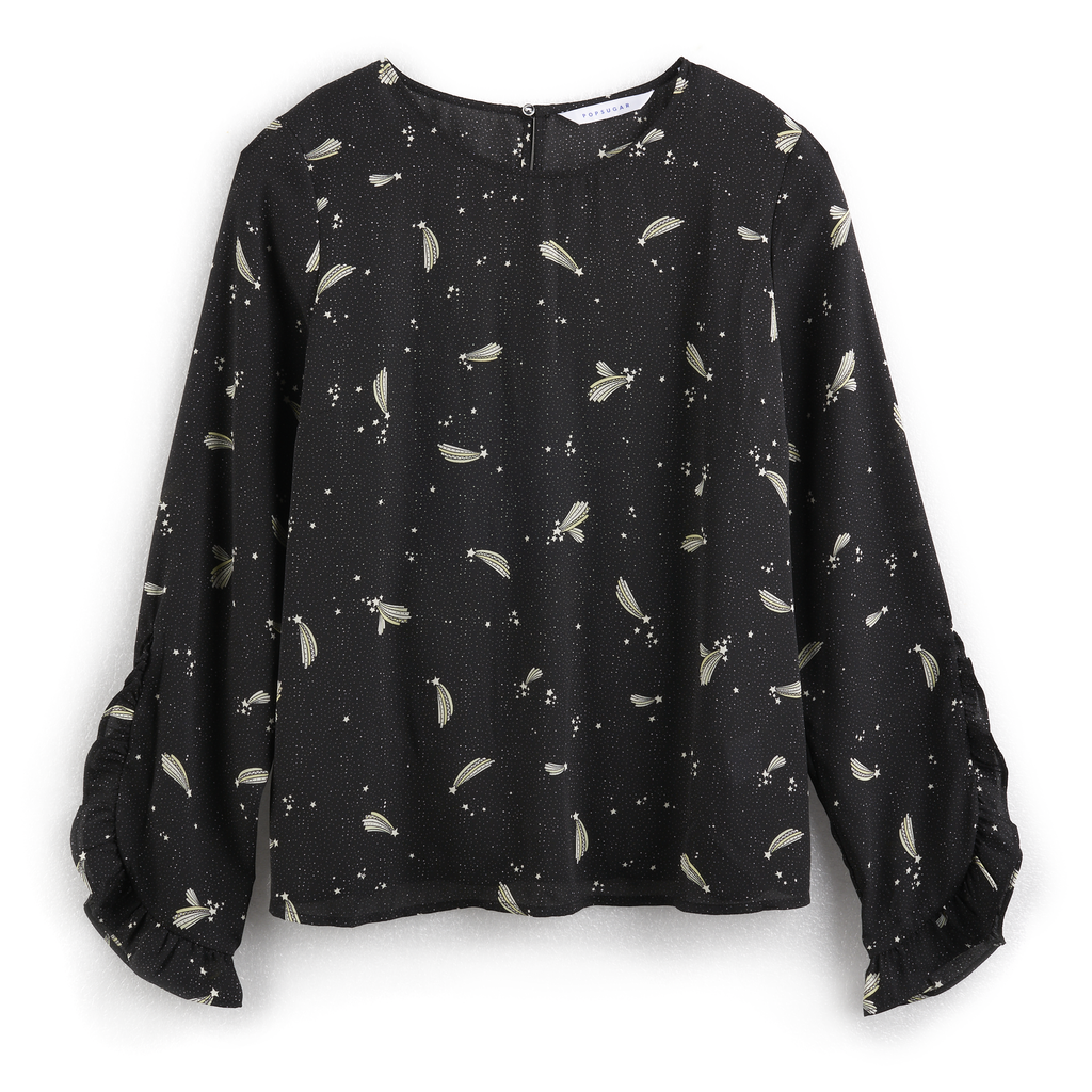 Print Ruffle Sleeve Top in Shooting Stars
