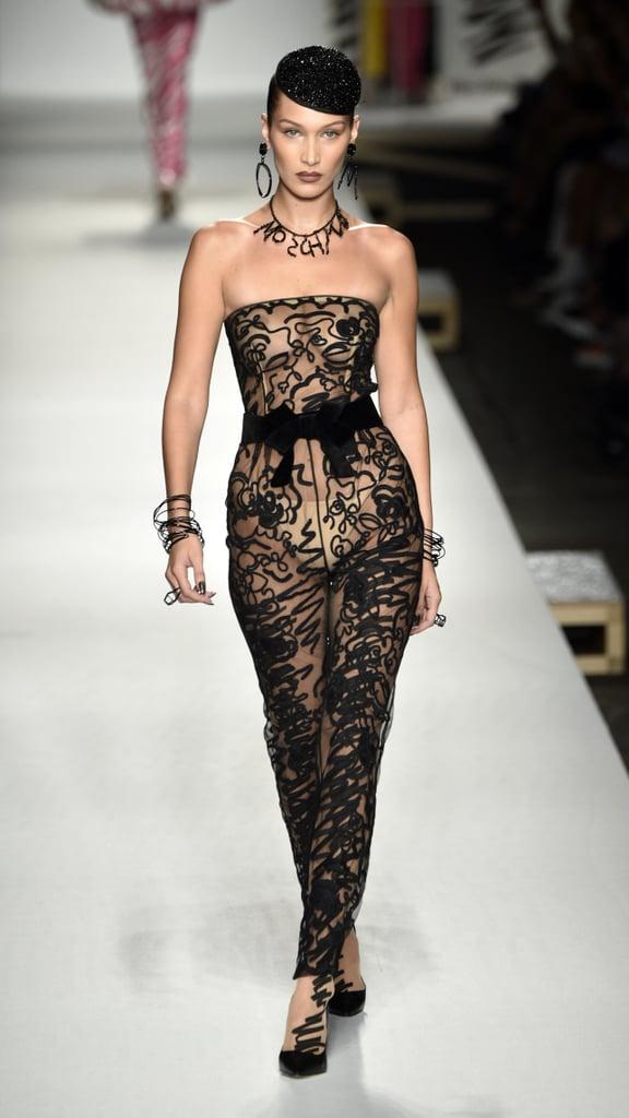Bella Hadid Walking the Moschino Show at Milan Fashion Week Spring/Summer 2019