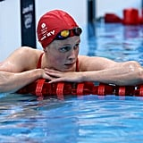 Hannah Miley of Great Britain takes pause between practice laps; the Scottish swimmer is a favorite to win in the women's 400-Meter individual medley this Saturday.