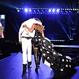 "Source: Getty / Kevin Mazur   Aug. 2: Another Page Six report alleged that Beyoncé and Jay Z were spending most of their time apart on tour. A source said, ""They're not just staying in different hotel rooms, but they have booked separate hotels, and they arrive separately to each show."" Late that night, Beyoncé dropped a surprise remix to her song ""Flawless"" featuring Nicki Minaj. In the track, Beyoncé addressed the post-Met Gala elevator fight, rapping, ""We escalate, up in this b*tch like elevators. Of course, sometimes sh*t go down when there's a billion dollars on an elevator.""  Aug. 5: An up-close photo of Beyoncé's left hand was posted to her blog, clearly showing that her ""IV"" tattoo — which she got in lieu of an engagement ring — had been removed.   Source: Beyoncé Knowles   Aug. 6: The couple closed out the North American leg of their On the Run tour with a final stop in San Francisco. Us Weekly reported that during the show, their lack of chemistry on stage was ""palpable,"" with both parties appearing ""very tired."" Another concertgoer added, ""It felt very frosty. Normally they kiss and seem affectionate, but for this show there was just a quick peck at the end.""  Aug. 7: Beyoncé shared an adorable photo of Jay Z and Blue about to board a plane out of San Francisco. She captioned the sweet snap with a telling message: ""Thank you San Fran! Your city is beautiful. It was the perfect place to complete the best tour of my life! Thank you to all the fans that supported our show. God bless.""   Source: Instagram user beyonce"